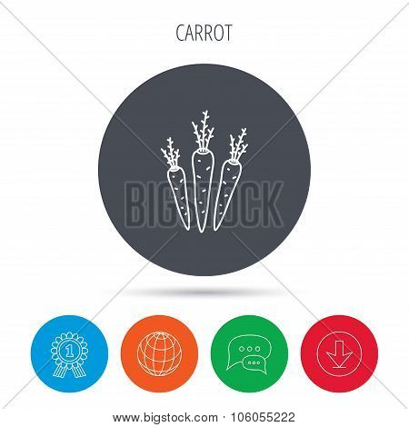 Carrots icon. Vegetarian food sign.