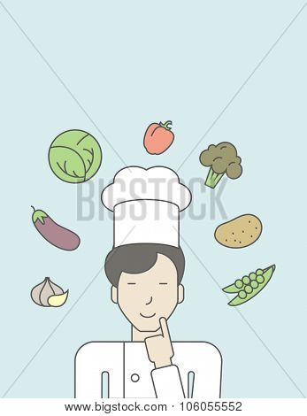 A cheerful asian chief-cooker in uniform with finger up and vegetables flying in air. Vector line design illustration. Vertical layout with a text space for a social media post.