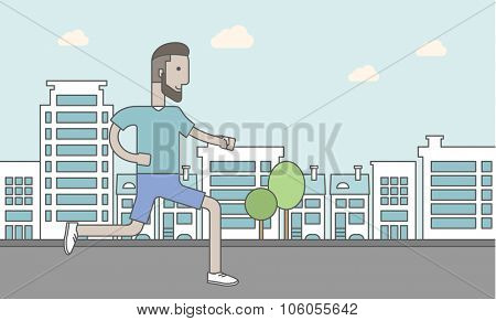 A caucasian hipster man with beard jogging on street. Vector line design illustration. Lifestyle concept. Horizontal layout with a text space for a social media post.