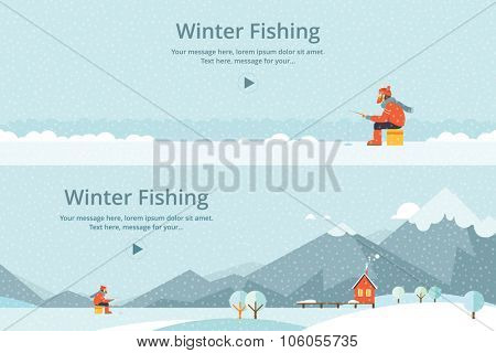 Ice fishing, a man on the ice fishing. House on mountain lake
