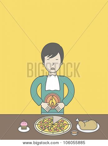 An asian man standing near the table with food suffering from heartburn. Vector line design illustration. Vertical layout with a text space for a social media post.