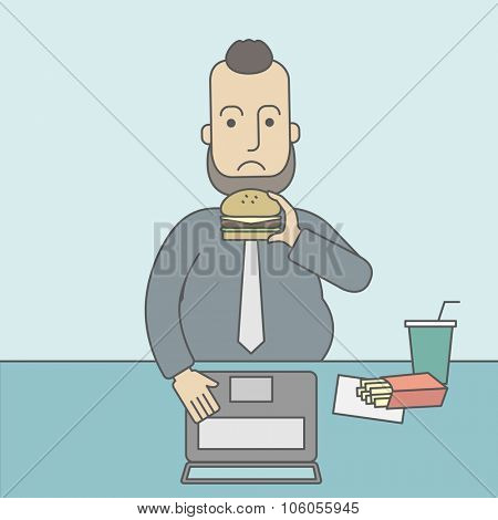A caucasian fat man with beard working on laptop at the table eating junk food. Vector line design illustration. Square layout.