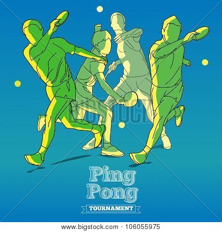 Silhouettes Of Tennis Player Playing Ping Pong