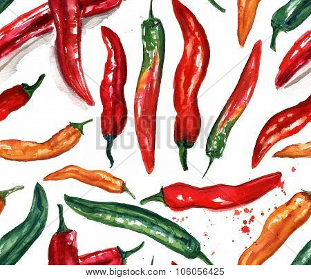 Seamless watercolor chili peppers of various colors background pattern