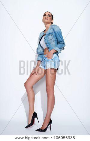 Fashion model in denim style