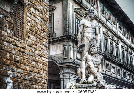 Hercules And Cacus Statue In Piazza Della Signoria In Florence