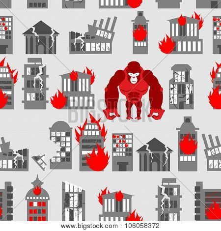 King Kong Ruined Building Seamless Pattern. Dangerous Big Gorilla Broke City. Destroyed Buildings. A