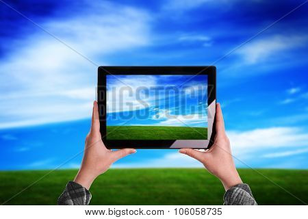 Woman Taking Picture Of Beautiful Nature Grassland Lanscape