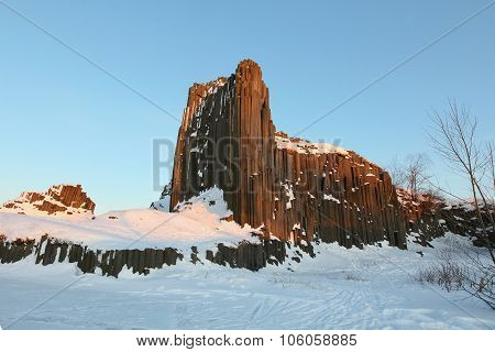 Winter Basalt Formation Skala Panska In Czech Republic