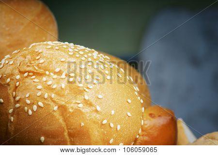 Freshly baked bread bun
