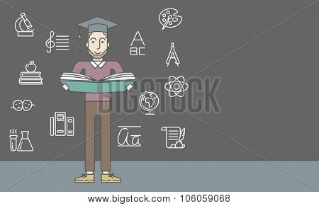 A caucasian hipster man with beard in graduation cap with an open book on grey chalk board background. Vector line design illustration. Horizontal layout with a text space for a social media post.