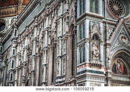Close Up Of Santa Maria Del Fiore Facade In Florence