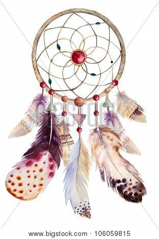 Watercolor dreamcatcher with beads and feathers.