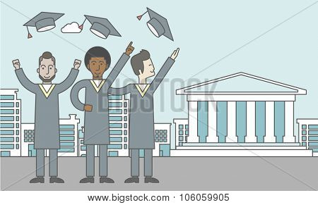 Happy graduates throwing up their hats on a city background with academy building. Vector line design illustration. Horizontal layout with a text space for a social media post.