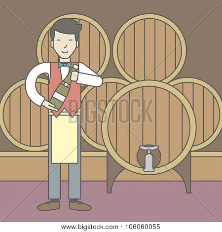 An asian waiter with a bottle of wine in wine cellar. Vector line design illustration. Square layout.