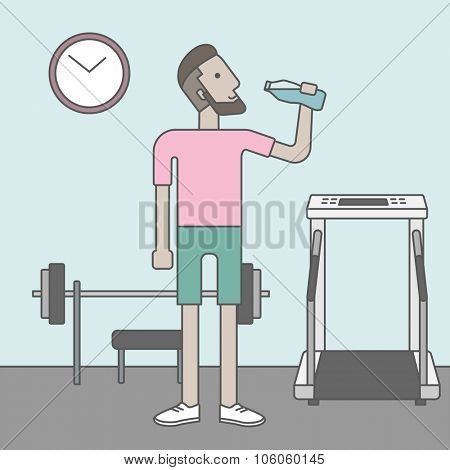 A caucasian hipster man drinking water in the gym. Vector line design illustration. Healthy, fitness concept.  Square layout.