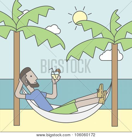 A caucasian hipster man with beard chilling in hammock at seashore with a cocktail in a hand. Vector line design illustration. Square layout.