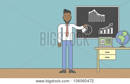 An african-american man painting on a chalkboard and globe and laptop on the table. Vector line design illustration. Horizontal layout with a text space for a social media post.