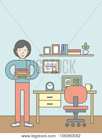 An asian pupil with books in the room with equipped working place. Vector line design illustration. Vertical layout with a text space for a social media post.
