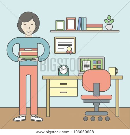 An asian pupil with books in the room with equipped working place. Vector line design illustration. Square layout.