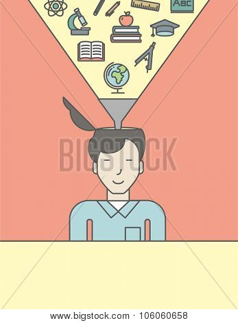 An asian pupil with multiple icons above his head symbolizing knowledge. Vector line design illustration. Vertical layout with a text space for a social media post.