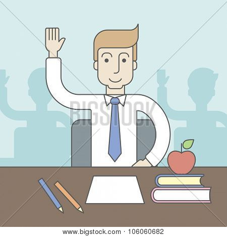 A caucasian pupil rising hand sitting at the table with books and apple on it. Vector line design illustration. Square layout.