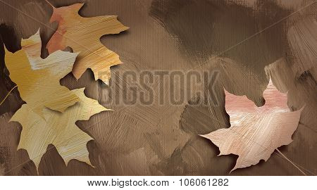 Graphic Autumn Leaves Against Hand Painted Textured Background