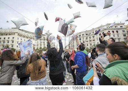 International Pillow Fight In Thessaloniki, Greece.
