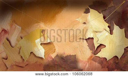 Graphic Autumn Leaves Against Hand Painted, Bright Earthtone Textured Background