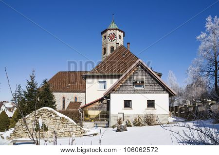 Winter Landscape With Beautifull House And Snow Wrapped Trees