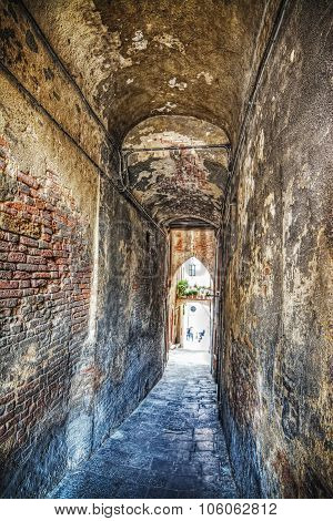 Narrow Underpass In Siena In Hdr