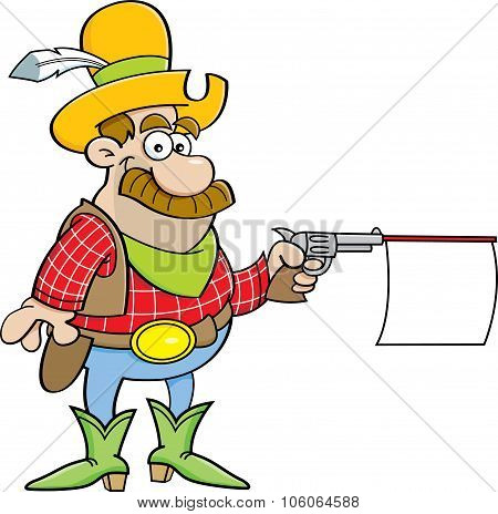 Cartoon cowboy shooting a gun with a sign.