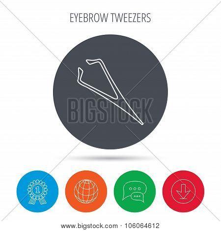 Eyebrow tweezers icon. Cosmetic equipment sign.