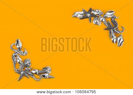 Corner made of sea conches - beach concept background