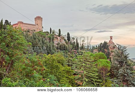 Castle And Clock Tower Of Brisighella, Ravenna, Italy