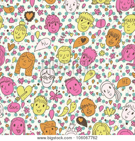 Funny girls and boys in cartoon seamless pattern in vector. Seamless pattern can be used for wallpapers, pattern fills, web page backgrounds, surface textures