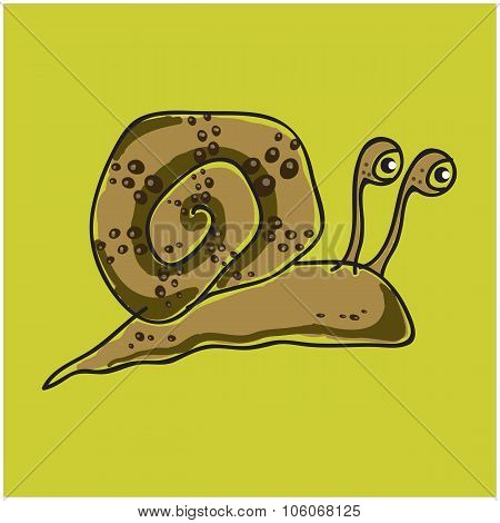 Snail on a green background