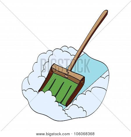 Snow shovel. Vector hand drawn illustration