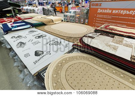Moscow, Russia - February 01.2015: Carpets in chain stores OBI. German retail chain stores of constr