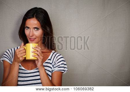 Charismatic Lady Holding Coffee Cup While Standing
