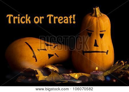 Halloween Pumpkins With Text Trick Or Treat
