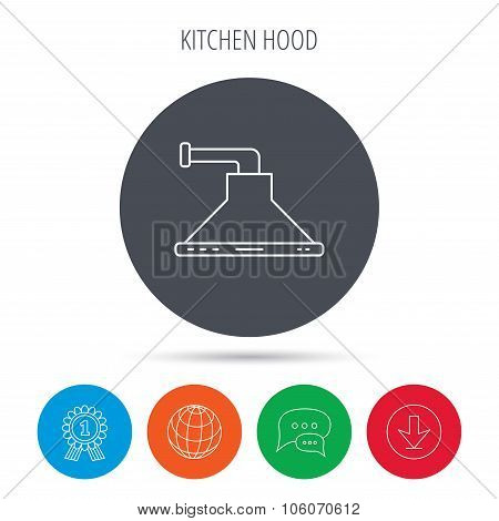 Kitchen hood icon. Kitchenware equipment sign.