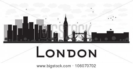 London skyline black and white silhouette. Vector illustration. Simple flat concept for tourism presentation, banner, placard or web site. Business travel concept. Cityscape with famous landmarks