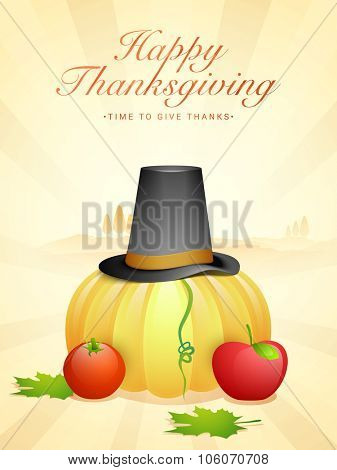 Stylish Flyer, Banner or Pamphate with vegetables, fruits and pilgrim hat for Happy Thanksgiving Day celebration.