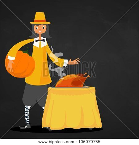 Young boy dressed as a pilgrim with big pumpkin and hot cooked chicken for Happy Thanksgiving Day celebration.