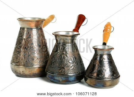 Three Copper Coffee Maker Isolated On White Background