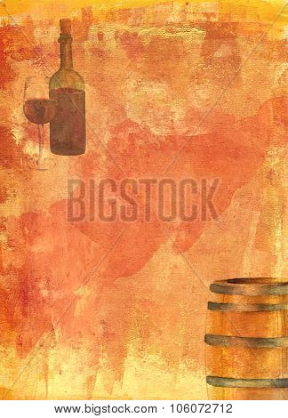 A watercolor drawing of a wine barrel and a bottle and a glass of red wine
