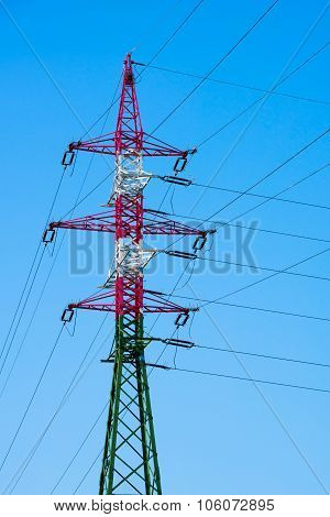 Electric power lines and pylon