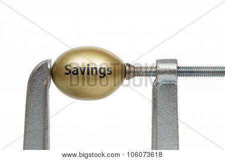 Golden Egg In Metal Clamp - Savings