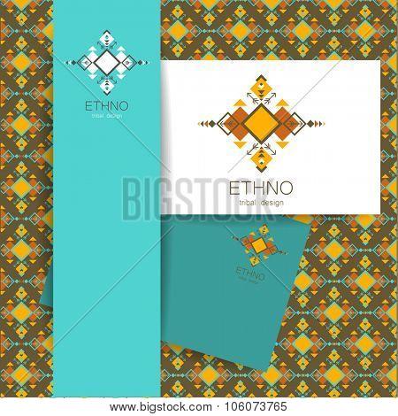 Ethno - corporate identity. Template design of logo.